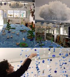 Sun and rain installation - each grade could do a different part (drops, clouds, rainbows, or do it by media - sewing, clay, bottle caps, etc.)