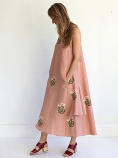 Creatures of Comfort Lilith Dress- Flora Pink Cactus Print, Midi Skirt, Floral Prints, Women Jewelry, Creatures, Female, Luxury, Skirts, Pink