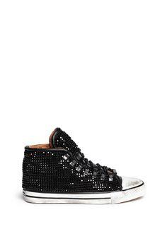 BLACK DIONISO - 'Vintage Sneaker Swarovski' leather sneakers | Black Sneakers Flats | Womenswear | Lane Crawford