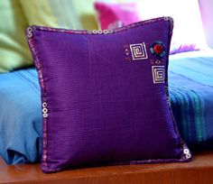 Violet Cushion Cover in Handmade Cone Work of Agate by KraftNation