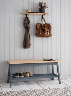 Seating two people comfortably (or three little ones) the Clockhouse Hallway Bench is ideal for you to take a seat whilst popping on or off your shoes. We think this would be a lovely addition to add to your chalet hallway. Hallway Storage Bench, Hallway Seating, Hallway Furniture, Diy Furniture, Modern Bench, Storage Spaces, Storage Ideas, Creative, Inspiration