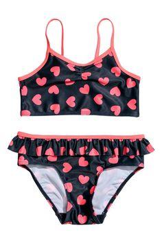 Bikini met dessin - Donkerblauw/hartjes - KINDEREN | H&M NL 1