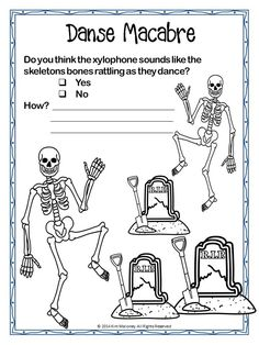 DANSE MACABRE Listening Worksheets/Journal North American spelling!   This PDF file contains 30 pages: TWO x 15 page sets of Student Worksheets/Listening Journal pages.   The two sets are very similar with one being just a little more difficult to cater for older or more advanced students.