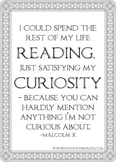 """I could spend the rest of my life reading, just satisfying my curiousity...""  ~  Malcolm X"