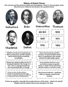 History of Atomic Theory (cut & paste & foldable) Activity from Sandy's Science on TeachersNotebook.com - (3 pages) - This is a cut and paste and foldable activity. Students cut out and sort pictures of scientists (Democritus, Dalton, Thomson, Rutherford, Bohr, Chadwick) historical dates and descriptions of their theories. Follow-up questions on modern cloud theory and w
