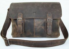Vintage 14'' Genuine Leather Messenger Bag/ Shoulder Bag/ IPAD Bag/ Laptop Bag/ Leather Bag/ Men's Bag in Retro Dark Brown