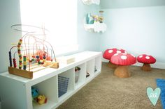 Woodland Playroom: Ikea Storage Bench-- Design Loves Detail