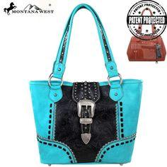 Montana West Western Handbag Shoulder Purse Conceal Carry Gun CCW Turquoise #MontanaWest #ShoulderBag