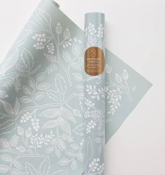 Behang voor poppenhuis Spearmint Blossoms Set of 3 rolled wrapping sheets