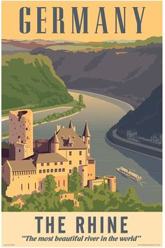Germany poster Germany wall art Germany art print Poster Germany Rhine River Germany art Wall decor Home decor Germany print Rhine Art Deco Posters, Room Posters, Poster Prints, Art Prints, Movie Posters, Poster Retro, Gig Poster, Tourism Poster, Vintage Travel Posters