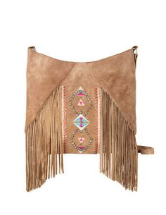 SuiteBlanco- Fringed embroidered suede shoulder bag