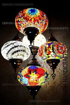 Multicolour Turkish Mosaic Hanging Lamp Light Hand Made 5 Large Globe Globe Chandelier, Ceiling Chandelier, Ceiling Lights, Globe Lamps, Chandelier Shades, Chandeliers, Turkish Lamps, Moroccan Lamp, Moroccan Lanterns