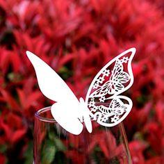 Tischkarten Schmetterling, 50 Stück, Platzkarte für Gläser, 3 D Schmetterlingsmotiv ausgestanzt, als Namenskarten, Glasanhänger, Cup-Karten, für Hochzeit, Party, Geburtstag, Taufe...