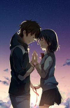 Kimi no na wa 君の名は Anime Love Couple, Cute Anime Couples, I Love Anime, Manga Anime, Kawaii Anime, Mitsuha And Taki, Kimi No Na Wa Wallpaper, Your Name Anime, Image Manga