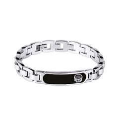 Forever Young Collection - Polished Square Link Bracelet with Black IP face panel featuring a Skull set with Jet Crystal http://lily316.com.au/shop/bracelets-mens-stainless-steel/stainless-steel-bracelet-with-skull-and-jet-crystal/