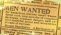 Original 1914 advertisement by Ernest Shackleton...