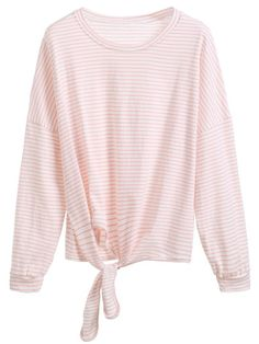 Camiseta manga larga a rayas con lazo-Sheinside