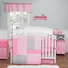 Timeless polka dots and stripes are paired with fresh lattice and geometric circles bringing a wonderfully stylized statement to the nursery in Trend Lab's Lily 3 Piece Crib Bedding collection. Poppy pink is combined with shades of a beautiful opal gray and crisp white offering endless decorating possibilities for you and your little one. Reversible quilt measures 35 in x 45 in and features quilted patches of printed polka dots, stripes, lattice and geometric circles in the wonderful color…