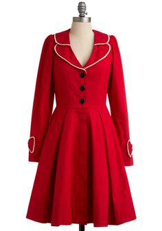 In Love and Beyond Coat - Red, White, Solid, Bows, Buttons, Trim, Party, A-line, Long Sleeve, Long, 2