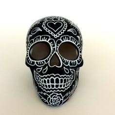 Ceramic Sugar Skull Painted Day of the Dead Halloween by sewZinski