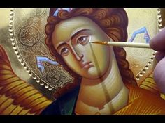 Watch as master iconographer Daniel Neculae writes an icon of the Archangel Gabriel in egg tempera for an iconography course in Raleigh, North Carolina in Ju. Religious Icons, Religious Art, Greek Icons, Bible Images, Face Icon, Archangel Gabriel, Doreen Virtue, Byzantine Icons, Principles Of Art