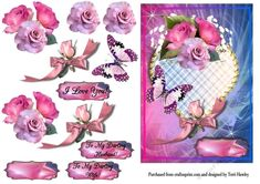 This is a great 3D decoupage card front for your husband, or wife,or just to someone you love for what ever reason you like.  Has a heart, flowers, ribbon, and a butterfly. Looks stunning when made up, and fits any A5 envelope when finished.