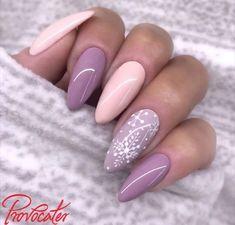 Pastel pink winter nails