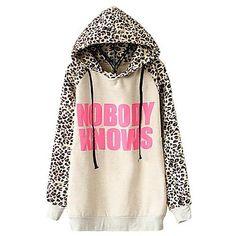 Sheinside Women's Light Grey NOBODY KNOWS Print Hooded Leopard Sweatshirt – USD $ 18.59