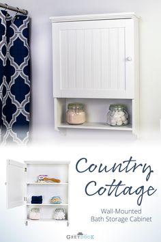 Bennington Country Cottage White Wall Mount Bathroom Medicine Cabinet Storage Organizer  sc 1 st  Pinterest & 38 best Wall Mounted Bathroom Cabinets images on Pinterest ...