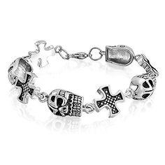 Bling Jewelry Pulsera para Hombre Colgantes de Calavera y Cruz Maltés 9 Pulgadas  ¿Te ha gustado? Visita http://todohalloween.ovh/tienda/bling-jewelry-pulsera-para-hombre-colgantes-de-calavera-y-cruz-maltes-9-pulgadas/