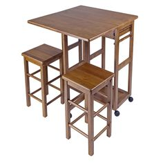 Winsome Space Saver Kitchen Cart With 2 Stools | Overstock.com Shopping - The Best Deals on Kitchen Carts