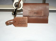 personalized leather passport holder & luggage tag in set by araga, $75.00