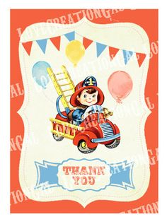 Printable Digital Vintage Fire Engine Firefighter Boy Children Party Celebrate Birthday Son Thank you Card Note Gift Tags Images Sheet Sh265. $5.00, via Etsy.