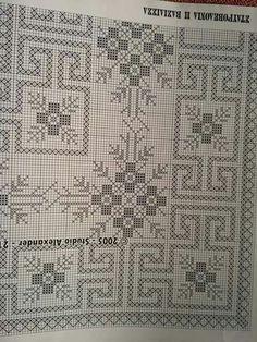 MARIA ATRAIDOU's 399 media details Blackwork Patterns, Lace Patterns, Embroidery Patterns, Stitch Patterns, Cross Stitch Letters, Cross Stitch Rose, Crochet Table Runner, Crochet Tablecloth, Cross Stitching