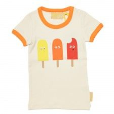Retro style organic cotton tee by Boys&Girls with orange binding and featuring 3 cheeky ice lollies! Retro Fashion, Kids Fashion, Kids Tops, Cotton Tee, Cool T Shirts, Boy Or Girl, Organic Cotton, Baby Kids, Cool Outfits