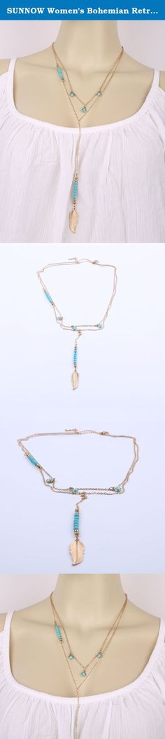 SUNNOW Women's Bohemian Retro Beaded Turquoise Feather Tassel Alloy Pendant Long Multilayer Necklace (Blue). Brand: SUNNOW product only sold by SUNNOW store on Amazon. Package includes: 1 x Necklace Material: Alloy Color:Gold Gender:Women,Girl Style:Fashion,Europe and America style,Bohemian Detail: Turquoise Feather Necklace, Multilayer Necklace SUNNOW Products line: dress, T-shirt, jacket, jeans and other clothing, jewelry, bag, watch,phone case,etc. Commitment: high-quality…