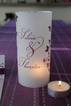 ♥ Lichthülle Hochzeit Menü Tischdeko ♥ von Designisch auf DaWanda.com