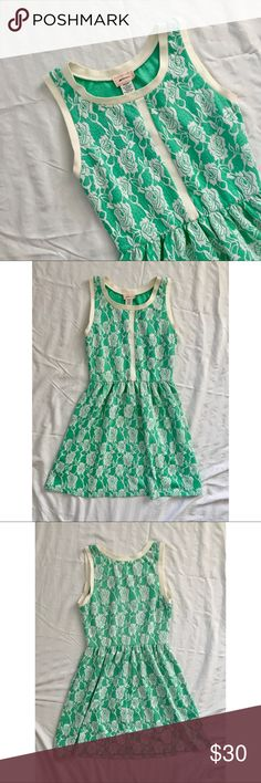 "Sleeveless Fit &a Flare Green with cream trim and roses. 32"" shoulder to hem. Very lightweight sweater like fabric. Great condition! Make me an offer!! Love...Ady Dresses Mini"