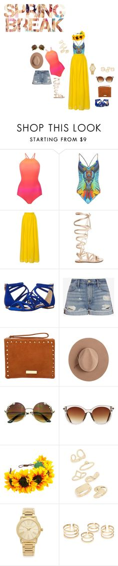 """""""EXCITED MUCH"""" by slayedbyk on Polyvore featuring Seafolly, Camilla, Gianvito Rossi, Ted Baker, Frame Denim, Carvela, Satya Twena, Icon Eyewear, Topshop and Michael Kors"""