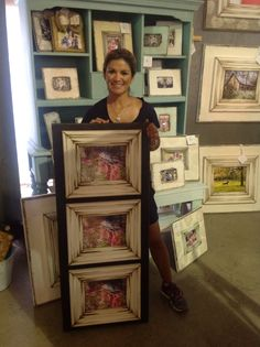 Another customer favorite! Black and white triple, distressed, wooden picture frame.  The Frame Cottage of Wye Mountain. The Painted Tree Vintage Market, Bryant, AR. First Texas Trade Days. Texas Trade Days ApMonday Trade Days,Canton, TX.
