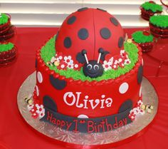 Olivia's 1st birthday ladybug cake by Simply Sweets, Scottsdale AZ..It was a ladybug/bee theme