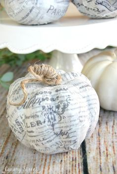 Easy way to update faux pumpkins! Use Mod Podge to cover faux pumpkins with any… Faux Pumpkins, Fabric Pumpkins, Autumn Crafts, Holiday Crafts, Holiday Ideas, Fall Halloween, Halloween Crafts, Halloween Pumpkins, Halloween Ideas