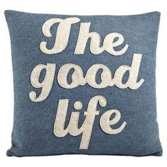 "Hemp and organic cotton throw pillow with a recycled felt applique.   Product: PillowConstruction Material: Hemp and organic cottonColor: Denim and oatmealFeatures:  Insert includedMade in the USA  Dimensions: Small: 16"" x 16""Large: 22"" x 22"""
