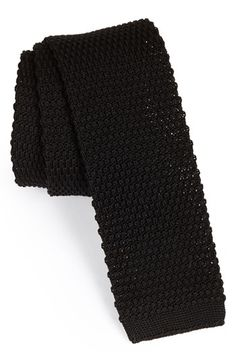 $95, Knit Cotton Tie Black Regular by BOSS HUGO BOSS. Sold by Nordstrom. Click for more info: http://lookastic.com/men/shop_items/135589/redirect