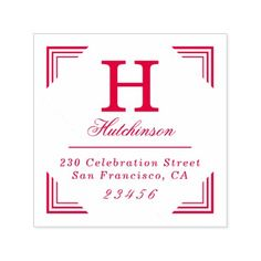 Classic Monogram Family Name & Return Address Self-inking Stamp custom gift ideas diy