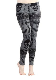 Snuggle after Skull Leggings, #ModCloth
