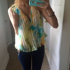 NWT LF Chiffon Top Beautiful watercolor like colors, new with tags. Originally posted at $60, retail price for this top is over $100 so price is final. LF Tops Blouses