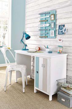 corner office style seaside surf surfer color wood desk shape cabin of . Surf Room, Beach Room, Bedroom Themes, Kids Bedroom, Ocean Themed Rooms, Boys Furniture, Corner Office, Desk Office, Corner Desk