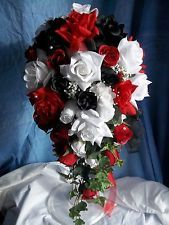 Black white red roses bridal bouquet bridesmaid silk wedding flowers red white black wedding bouquet mightylinksfo Images