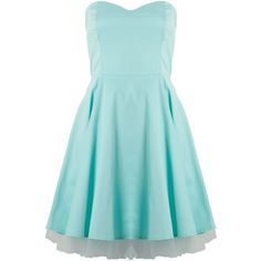 Sodamix Strapless party dress ($20) ❤ liked on Polyvore featuring dresses, vestidos, mint, women, strapless dress, blue dress, strapless cotton dress, zip dress and mint dress